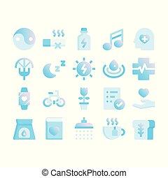 gradient, wellness, plat, icônes