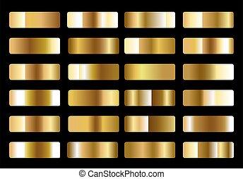 gradients, métallique, or, ensemble, grand