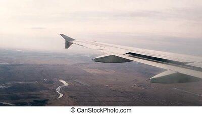 grading., vendange, voler, partie, fenêtre., au-dessus, avion, earth., aile, vue