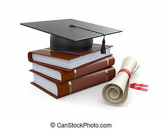 graduation., books., mortarboard, diplôme, 3d