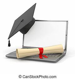 graduation., diplôme, ordinateur portable, planche, mortier, e-apprendre