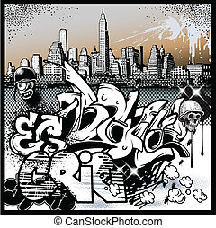 graffiti urbain, éléments, art