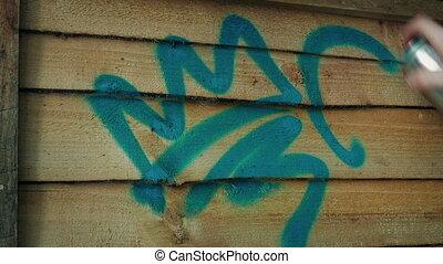 graffiti, vaporisé, barrière bois, sur