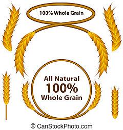grain, ensemble, blé, entier
