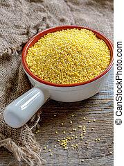 graines, céramique, bowl., millet
