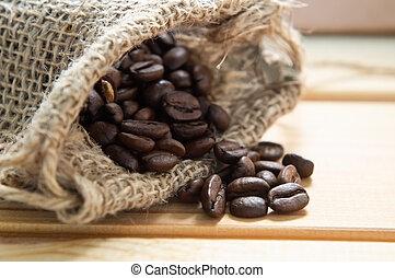 grains café, sac