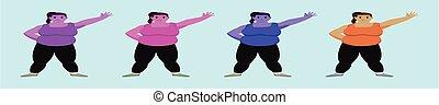 graisse, ensemble, femmes, models., vecteur, arrière-plan bleu, isolé, gabarit, icône, illustration, divers, dessin animé, conception