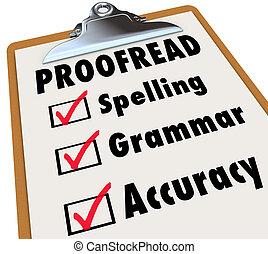 grammaire, liste contrôle, presse-papiers, orthographe, proofread, précision