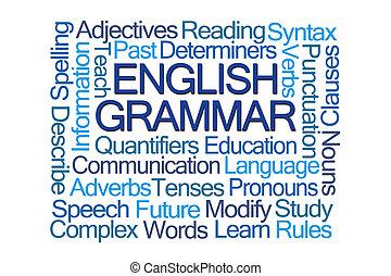 grammaire, nuage, anglaise, mot