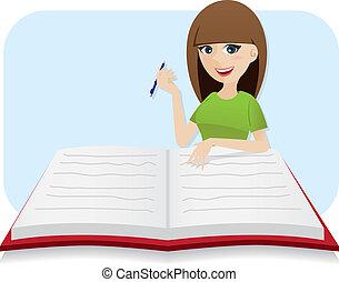 grand, écriture, agenda, girl, dessin animé, intelligent
