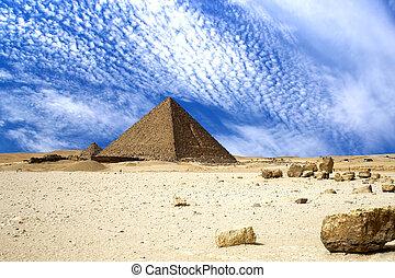 grand, égyptien, pyramides