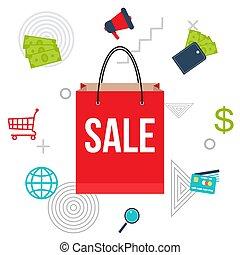 grand, achats, affiche vente, sac