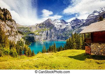 grand, alpes, panorama, azur, emplacement, kandersteg, suisse, étang, europe., oeschinensee.