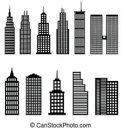 grand, bâtiments, gratte-ciel