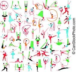 grand, ballet, ensemble, gymnastique