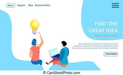 grand, banner., lumière, idée, ampoule, horizontal, trouver