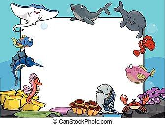 grand, bannière, animal mer