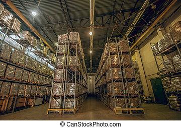 grand, beaucoup, boîtes, image, carton, étagères, entrepôt