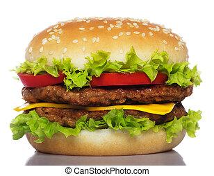 grand, blanc, hamburger, isolé