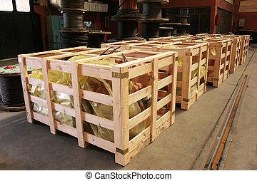 grand, boîte bois, expédition