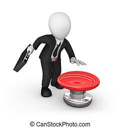 grand, bouton, 3d, rouges, homme affaires