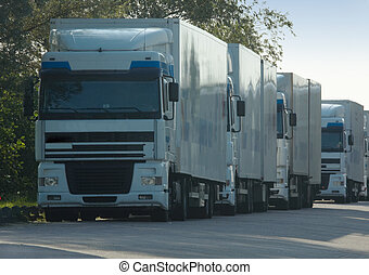 grand, camions