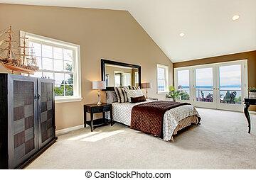 grand, carpet., classique, eau, luxe, chambre à coucher, vue