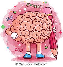 grand, cerveaux, mignon, illustration, crayon, prise