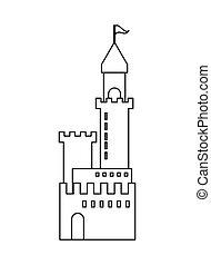 grand, château, icône