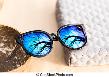 grand chat, bleu, closeup., foyer, dames, pousse, jour, dehors, oeil, lentilles, noir, cadre, modèle, mode, ensoleillé, lunettes soleil, sélectif