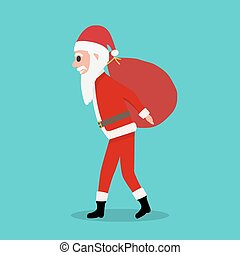 grand, claus, dons, sac, porte, santa, dessin animé, rouges