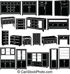 grand, commodes, collection