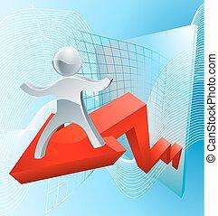 grand, concept, résultats, business