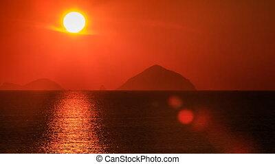 grand, contre, sun-path, mer, soleil, îles, disque, travers, flou, vue