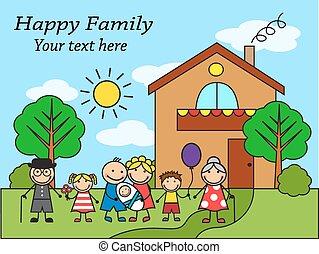 grand, dessin animé, famille, heureux