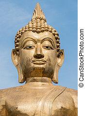 grand, doré, bouddha, statue