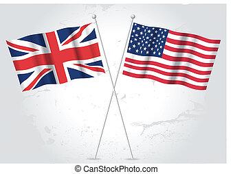 grand, drapeau etats-unis, grande-bretagne