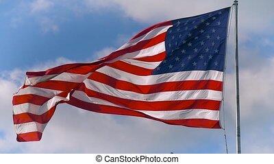 grand, drapeau ondulant, vent, américain, doucement