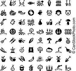 grand, ensemble, agriculture, icônes