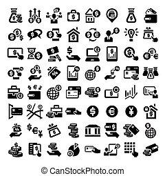 grand, ensemble, finance, icônes