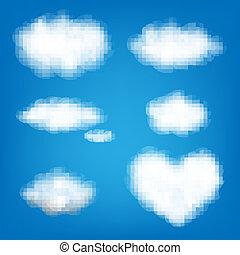grand, ensemble, nuages