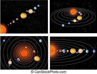 grand, ensemble, solaire, beau, système