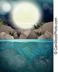 grand, entiers, rivière, nuit, lune