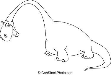 grand, esquissé, dinosaure