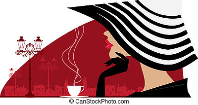grand, femme, café, chapeau