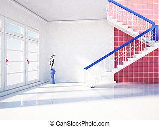 grand, fenêtre, escalier
