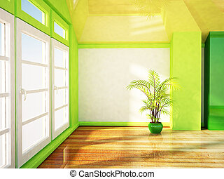 grand, fenêtre, salle, clair