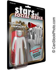 grand, figure, média, étoiles, social, action, communicateur