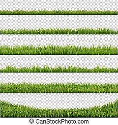 grand, frontière, ensemble, herbe