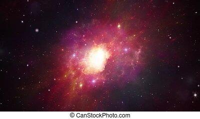 grand, galaxie, vol, par, univers, animation., 3d, mouche, coup, field., boucle, espace, étoile